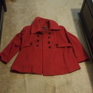 Red Lane Bryant Pea Coat with Oversized Collar